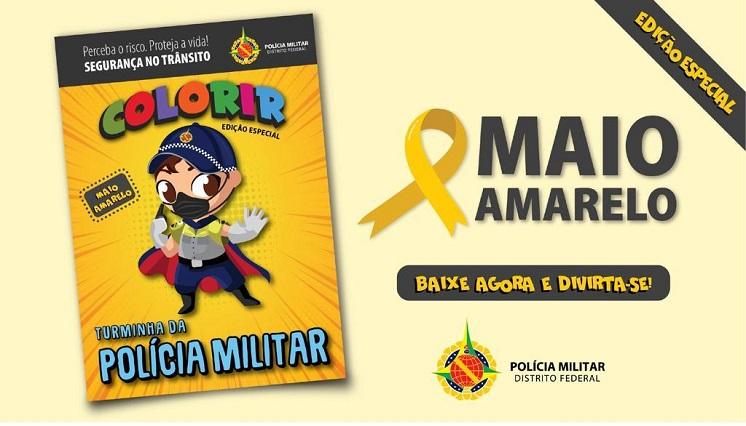 PM lança revista infantil para colorir voltada à educação de trânsito